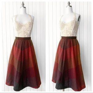Vintage 1970s Plaid Wool Circle Skirt